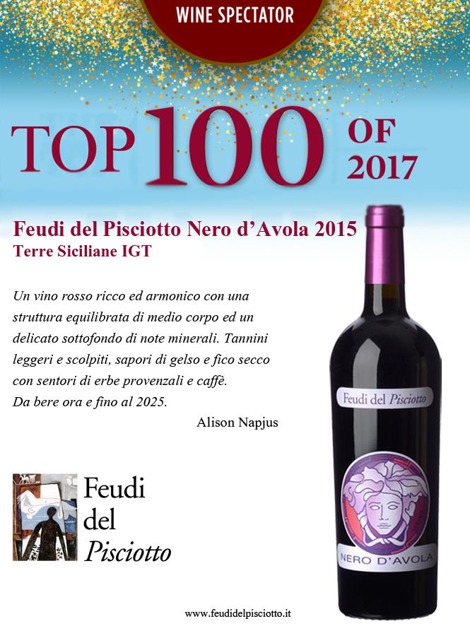 Top 100 di Wine Specatator Versace Nero d'Avola 2015 Feudi del Pisciotto